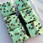 Creme de Menthe Brownies – Chocolate Chip Mint Brownies with Mint Cream Cheese Frosting
