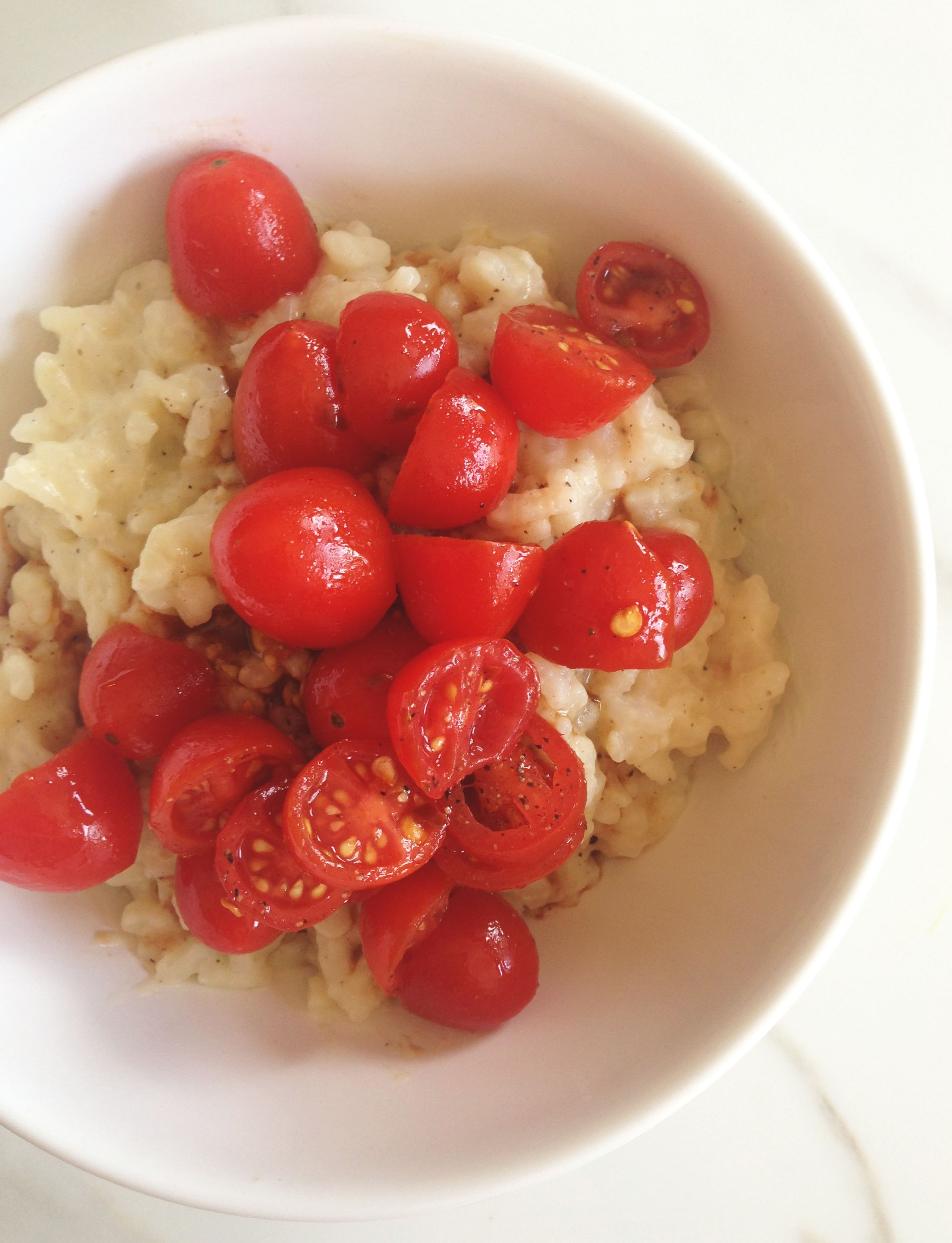 Parmesan-Basil Risotto with Balsamic Tomato Topping