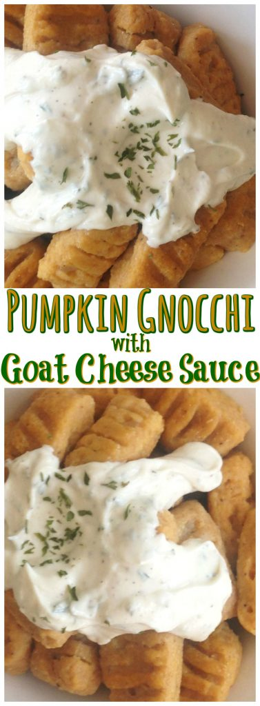 Easy Homemade Pumpkin Gnocchia with Goat Cheese Sauce recipe image thegoldlininggirl.com pin