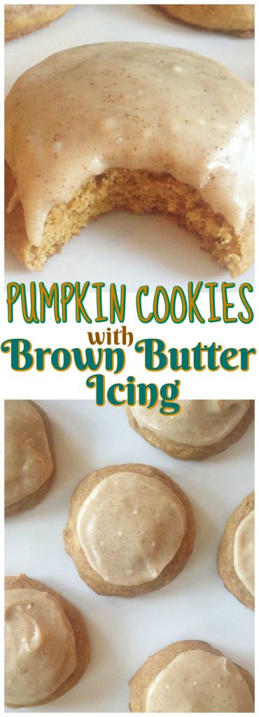 Pumpkin Cookies with Brown Butter Icing recipe image thegoldlininggirl.com pin 2