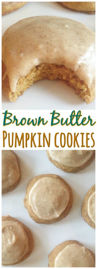 Pumpkin Cookies with Brown Butter Icing recipe image thegoldlininggirl.com pin 3