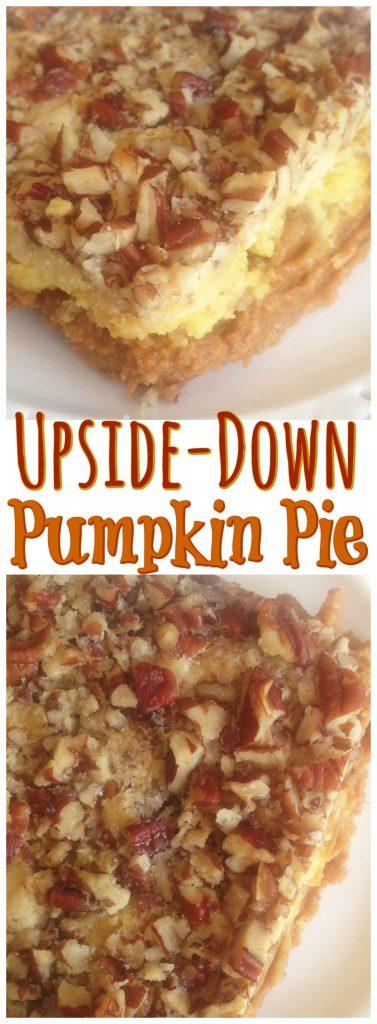 Upside Down Pumpkin Cake recipe image thegoldlininggirl.com pin