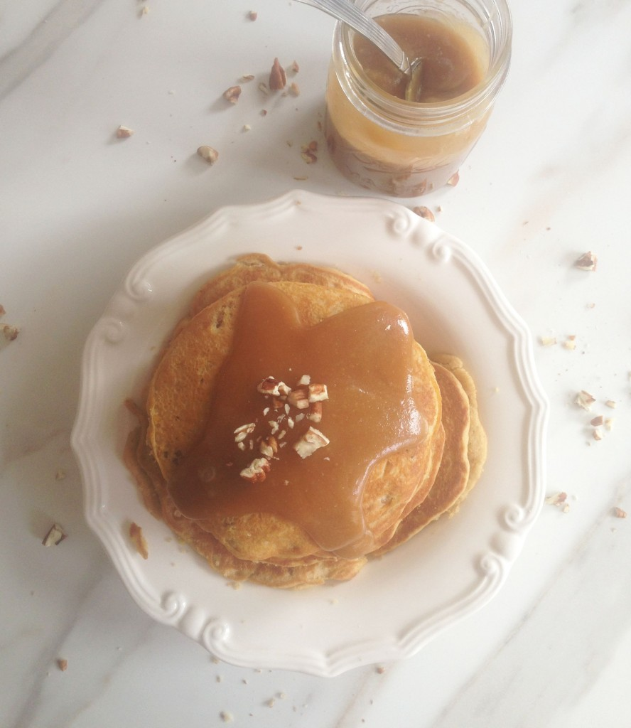 pecan cornmeal pancakes recipe with easy homemade caramel sauce (11)