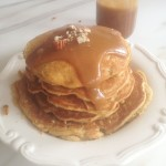 Pecan Cornmeal Pancakes Recipe with Homemade Caramel Sauce