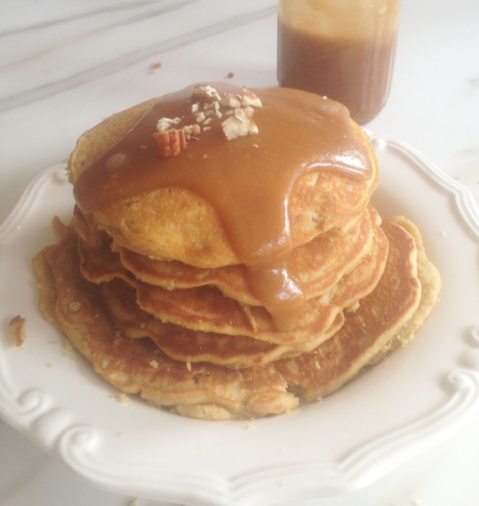 pecan cornmeal pancakes recipe with easy homemade caramel sauce (12)