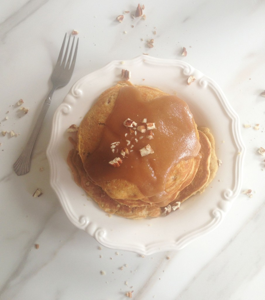 pecan cornmeal pancakes recipe with easy homemade caramel sauce (18)