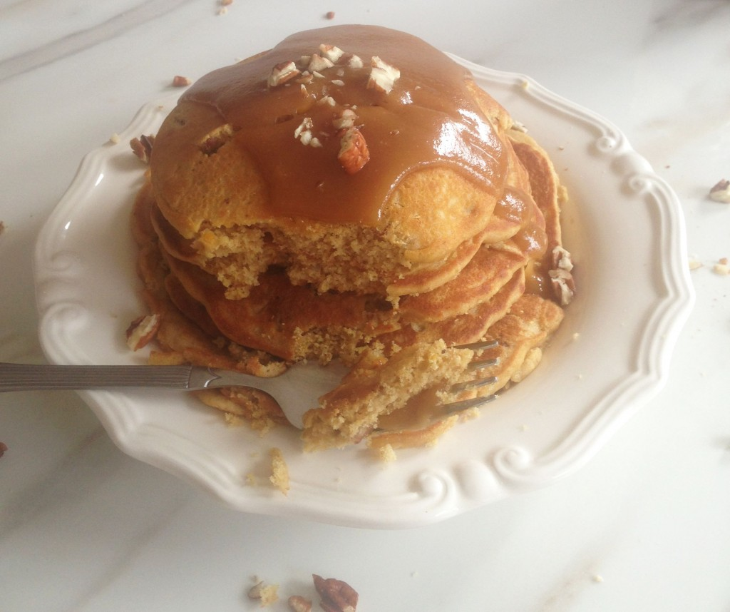 pecan cornmeal pancakes recipe with easy homemade caramel sauce (19)