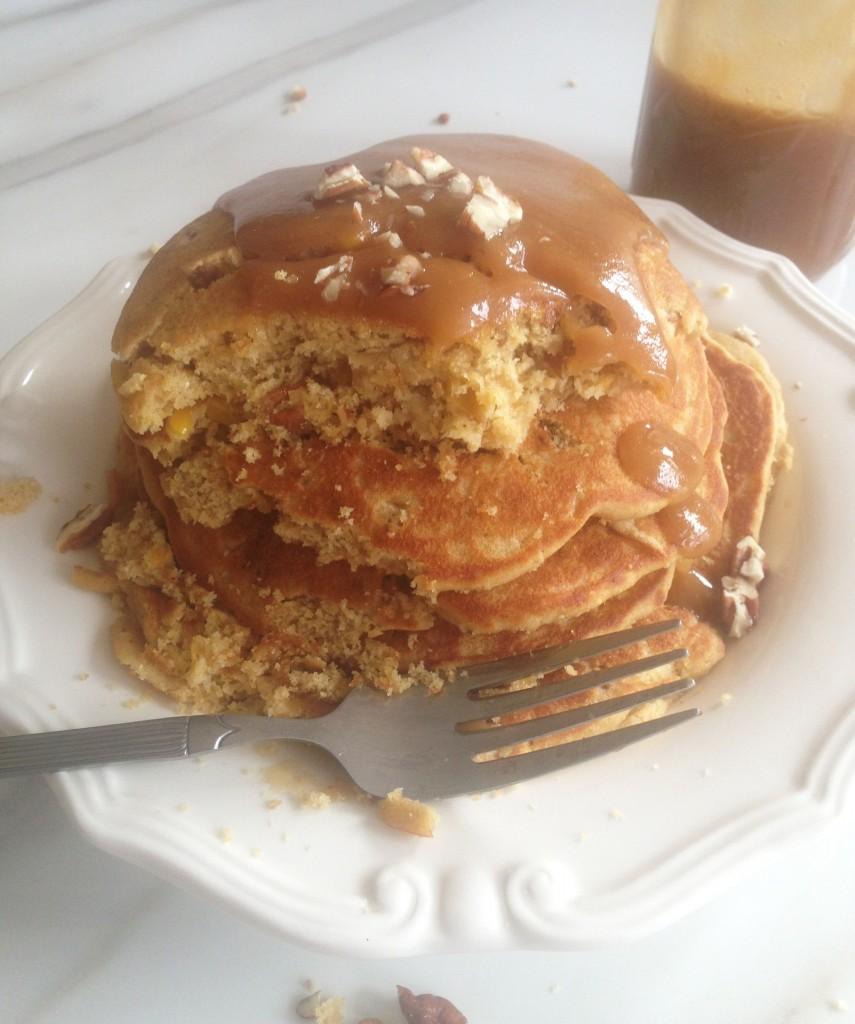 pecan cornmeal pancakes recipe with easy homemade caramel sauce (20)