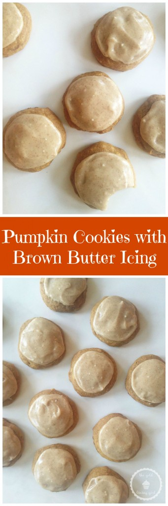 pumpkin cookies with brown butter icing pin