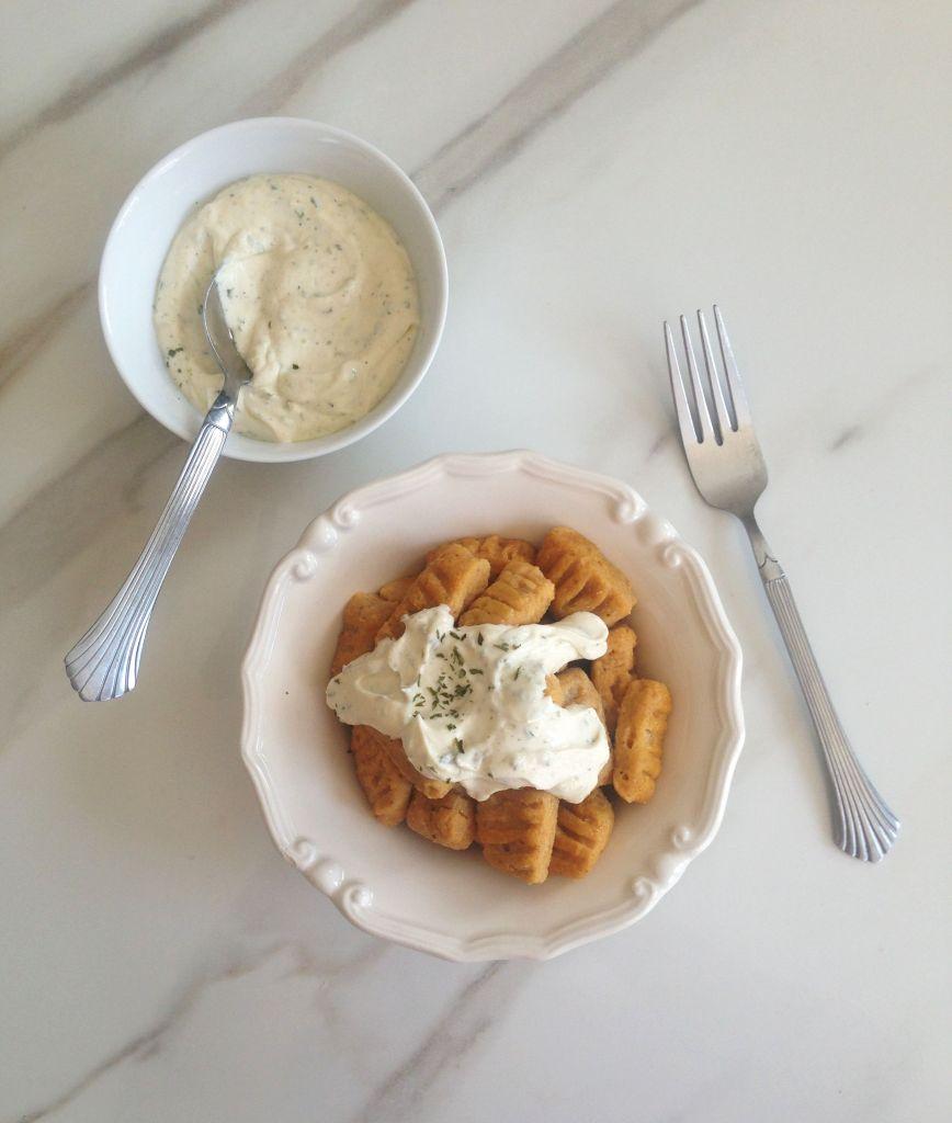 pumpkin parmesan gnocchi & goat cheese garlic sauce 12