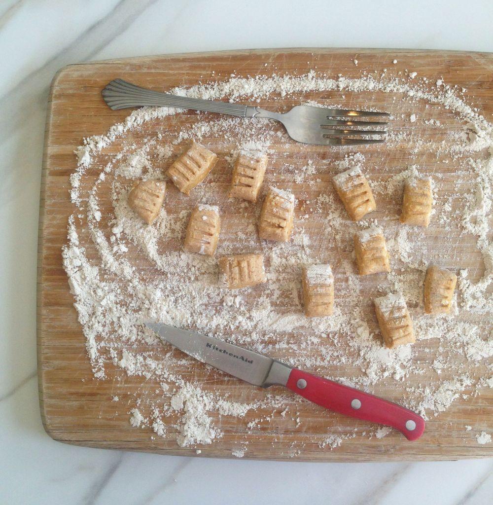 pumpkin parmesan gnocchi & goat cheese garlic sauce 3