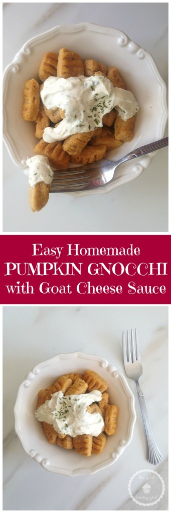 pumpkin parmesan gnocchi & goat cheese garlic sauce pin