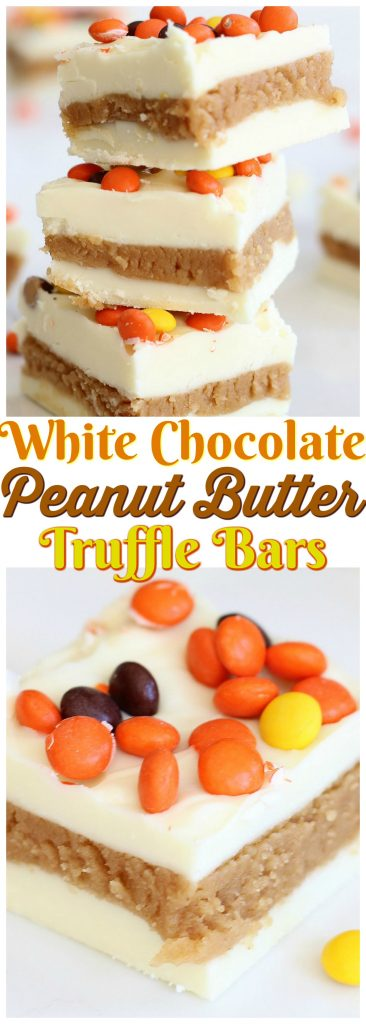 White Chocolate Peanut Butter Truffle Bars recipe image thegoldlininggirl.com pin 1