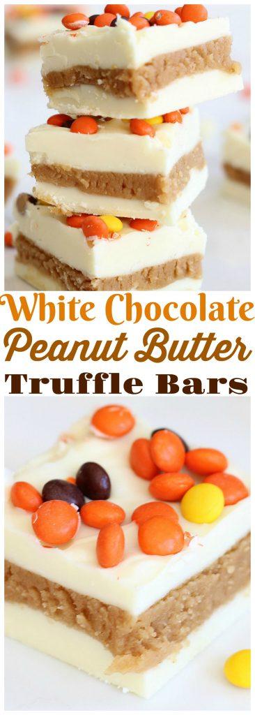 White Chocolate Peanut Butter Truffle Bars recipe image thegoldlininggirl.com pin 2