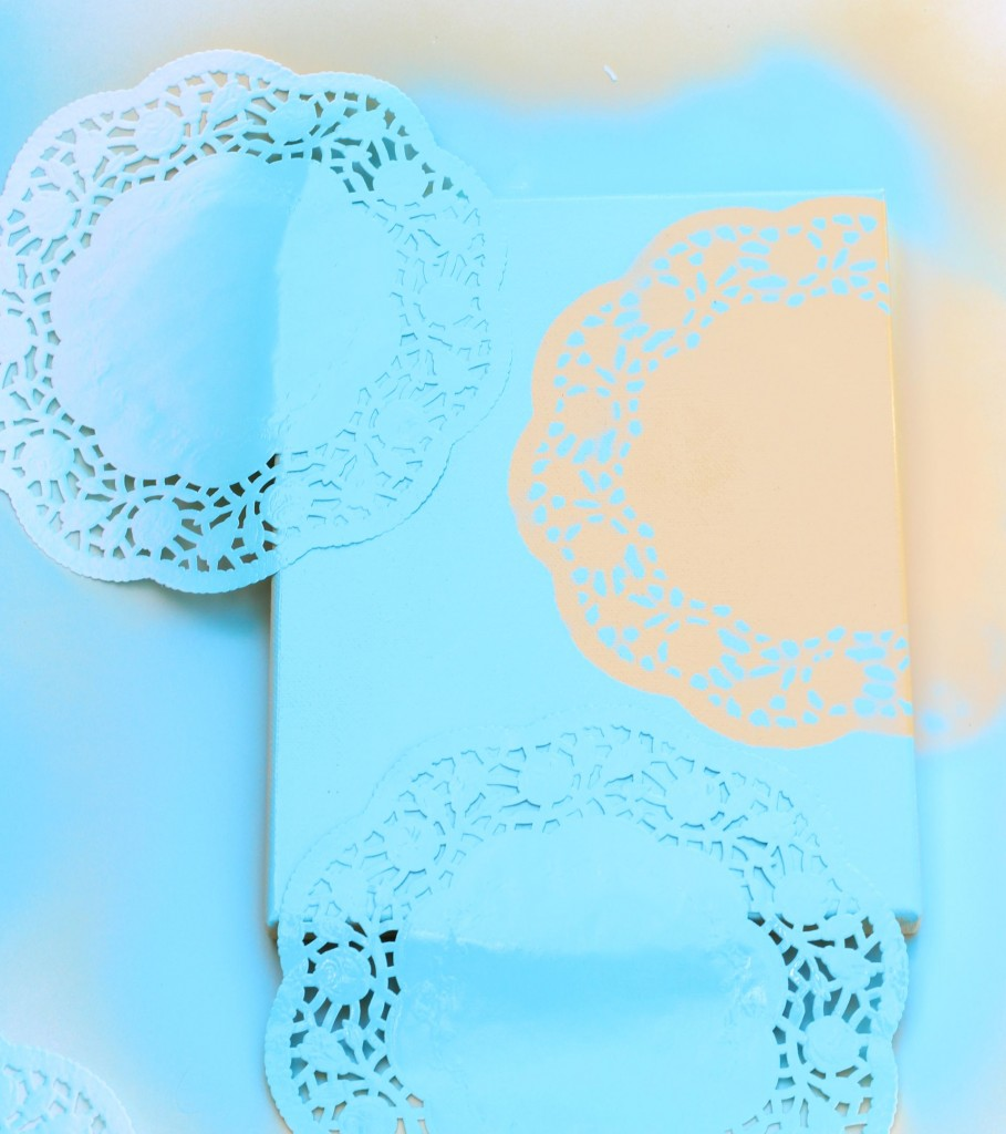 diy canvas art with spray paint doily doilies 10