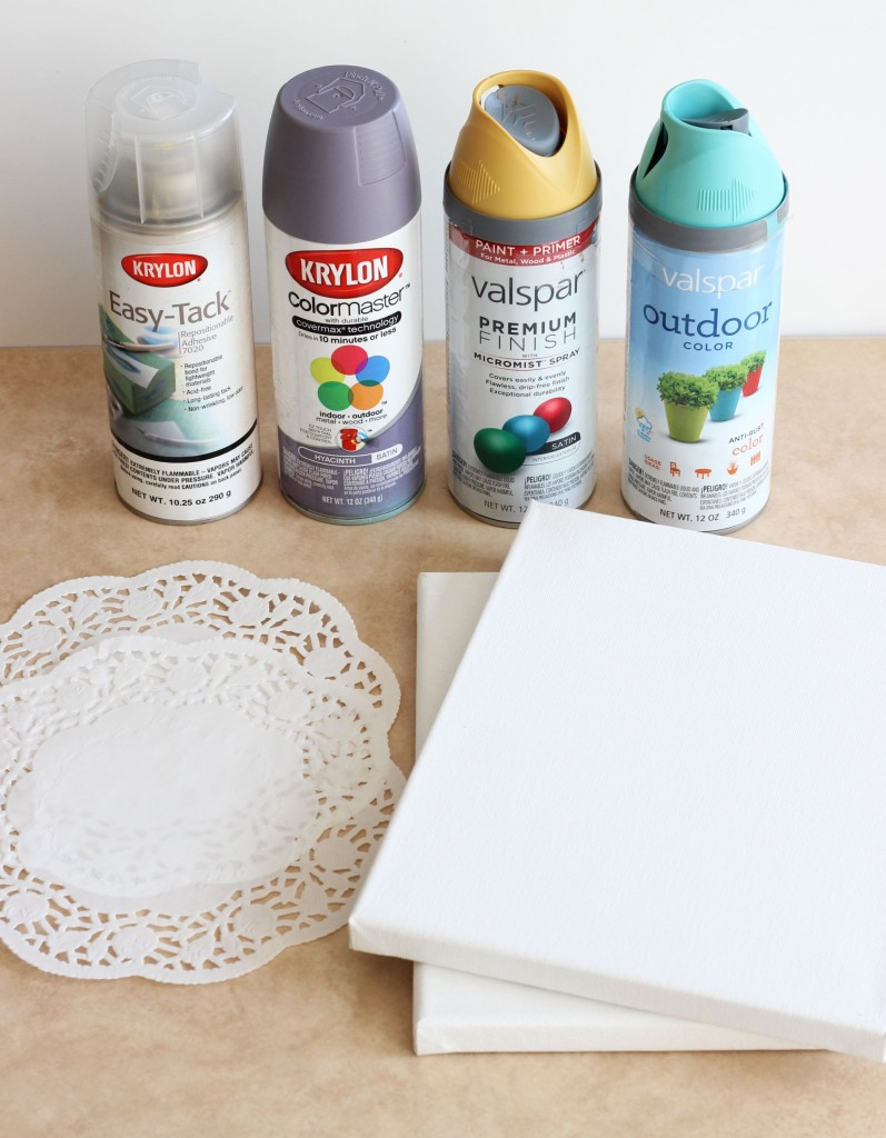 diy canvas art with spray paint doily doilies 19