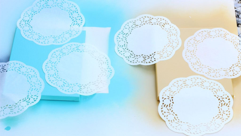 diy canvas art with spray paint doily doilies 3