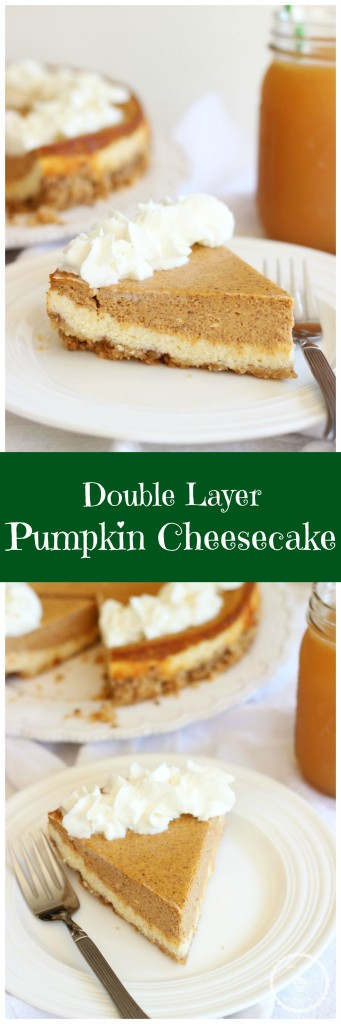 double layer pumpkin cheesecake spice with shortbread pecan crust pin
