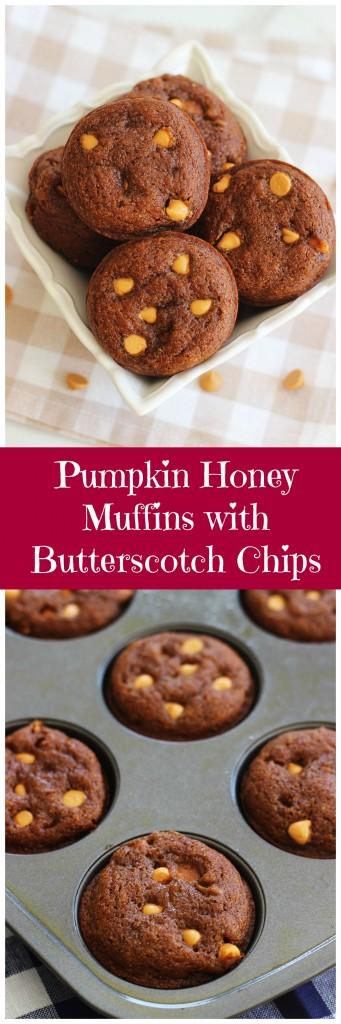 pumpkin honey muffins with butterscotch pin