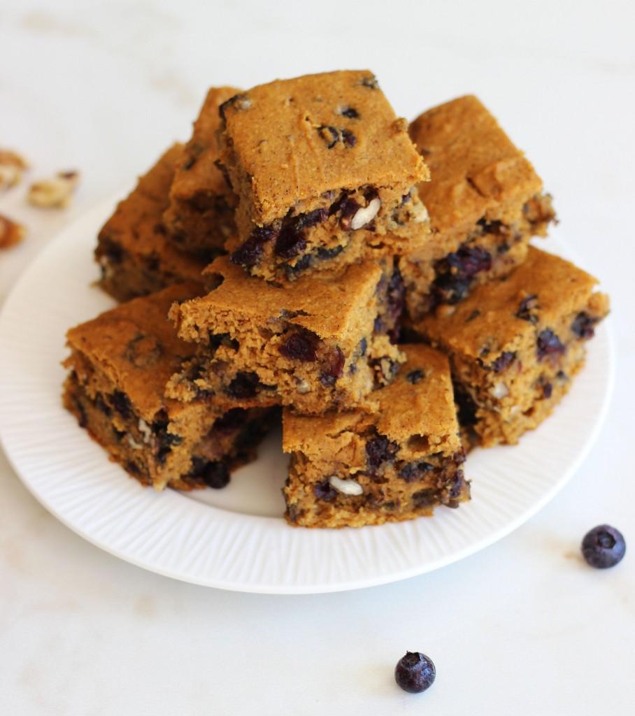 pumpkin protein bars with blueberries pecans 1
