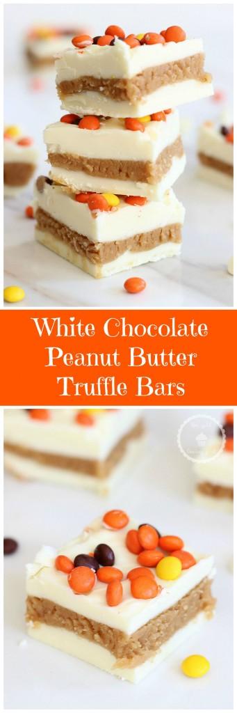 white chocolate peanut butter truffle bars pin