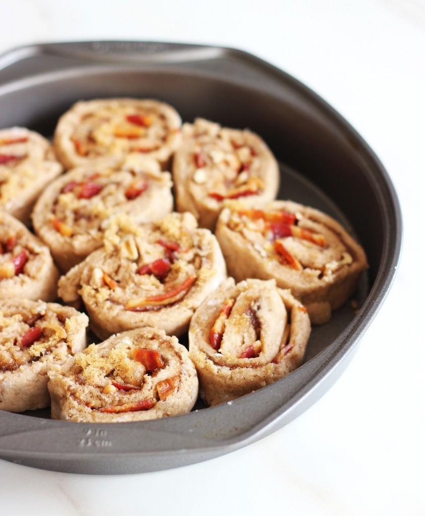 Maple bacon brown sugar pecan no yeast no rise cinnamon rolls 1