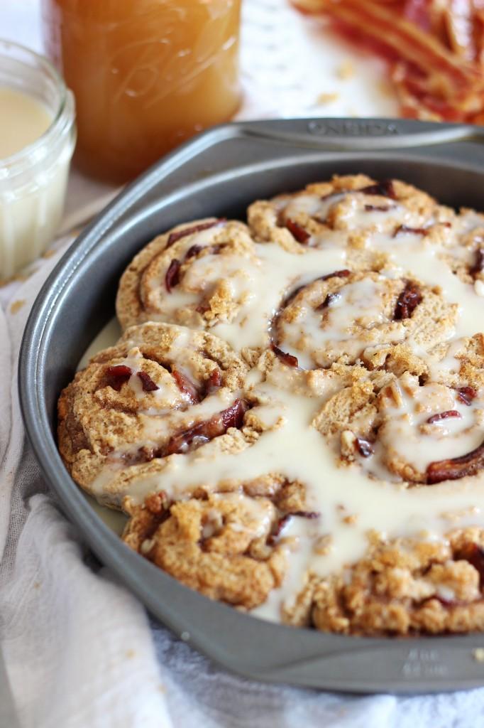 Maple bacon brown sugar pecan no yeast no rise cinnamon rolls 17