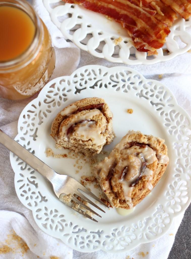 Maple bacon brown sugar pecan no yeast no rise cinnamon rolls 27