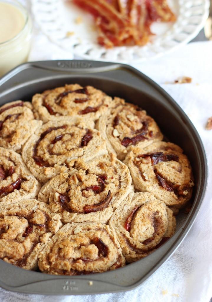 Maple bacon brown sugar pecan no yeast no rise cinnamon rolls 8