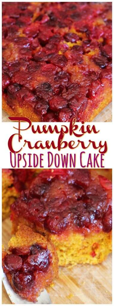 Pumpkin Cranberry Upside Down Cake recipe image thegoldlininggirl.com pin 1