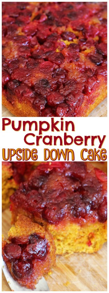 Pumpkin Cranberry Upside Down Cake recipe image thegoldlininggirl.com pin 2