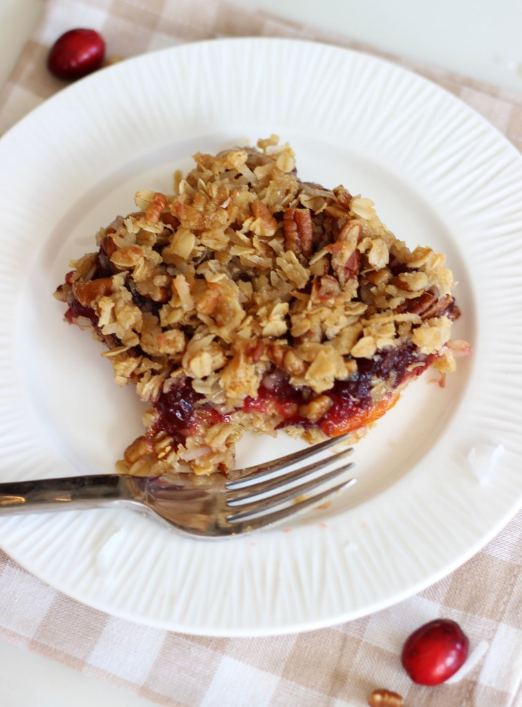 cranberry orange oatmeal streusel breakfast bars 15