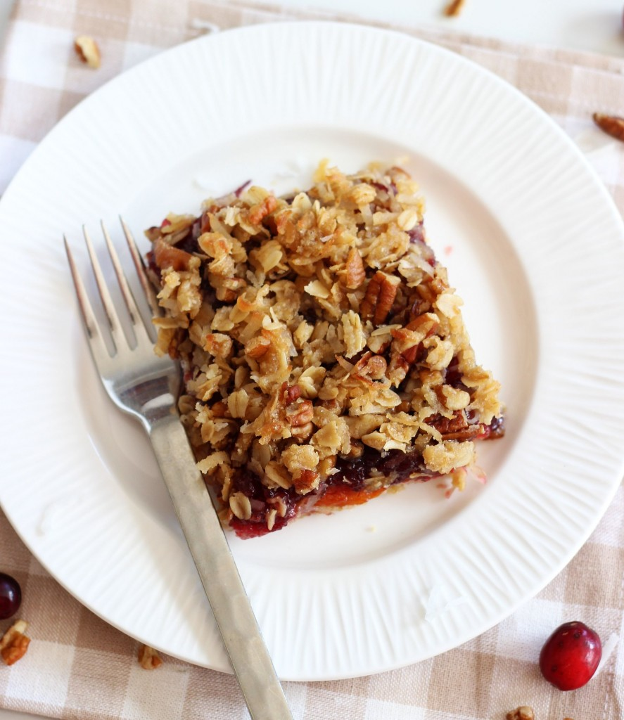 cranberry orange oatmeal streusel breakfast bars 6