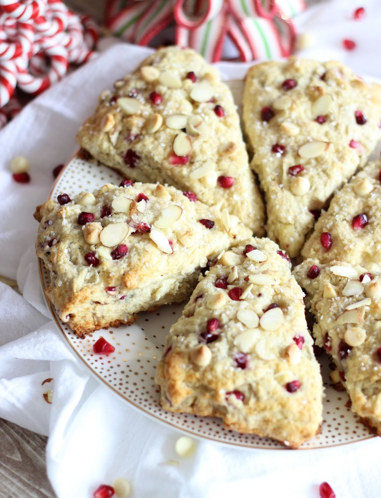 Pomegranate White Chocolate Almond Scones from The Gold Lining Girl Featured on Belle of the Kitchen