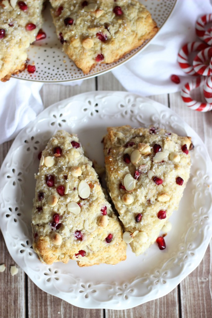 pomegranate seed white chocolate almond scones 23