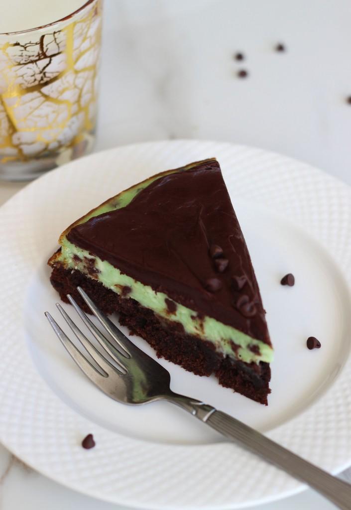 Mint chocolate chip brownie cheesecake 15
