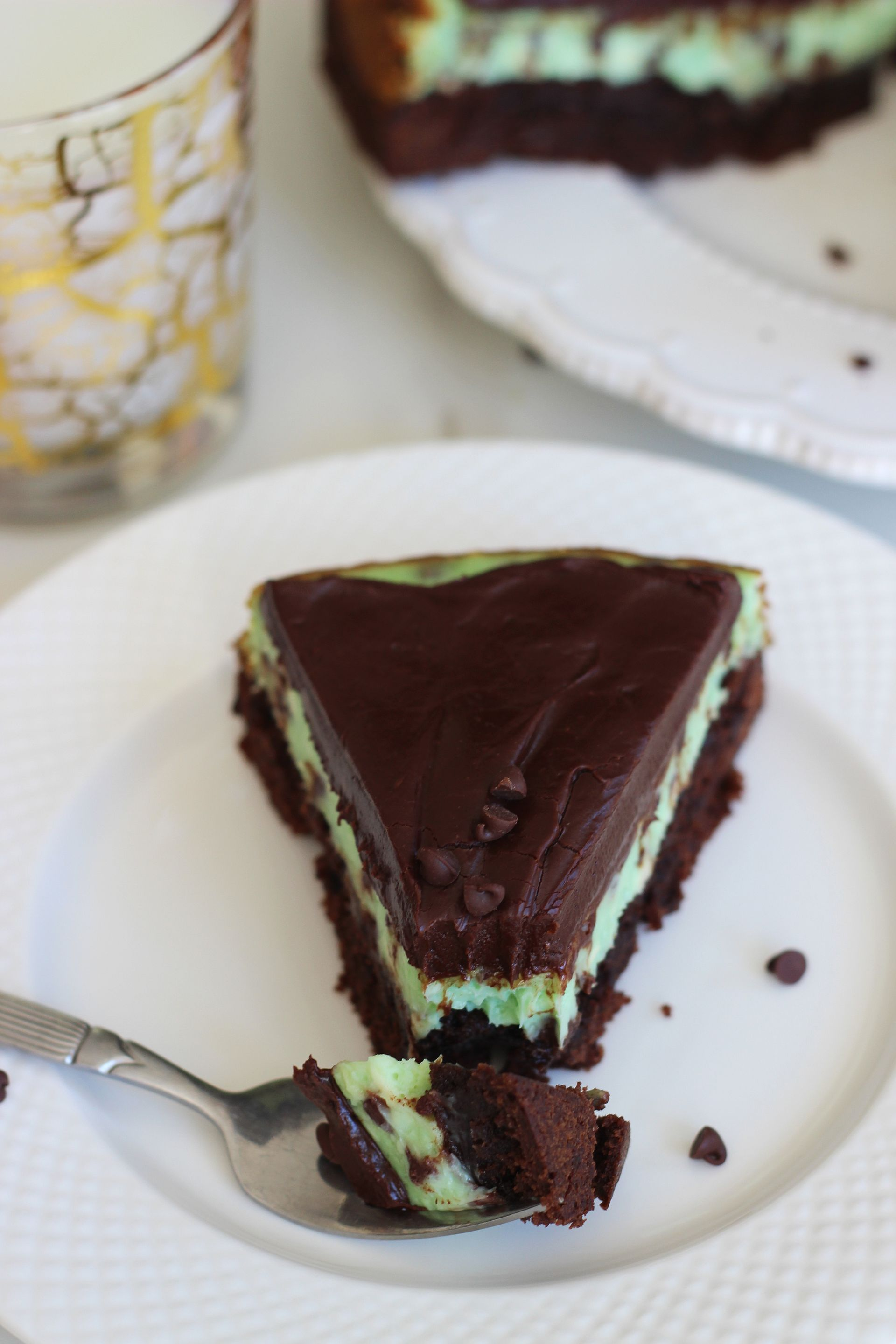 Mint Chocolate Chip Brownie Cheesecake with Chocolate Ganache