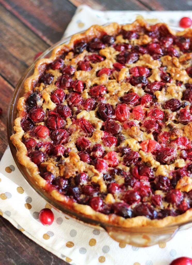 Super Easy Cranberry Pomegranate Walnut Pie
