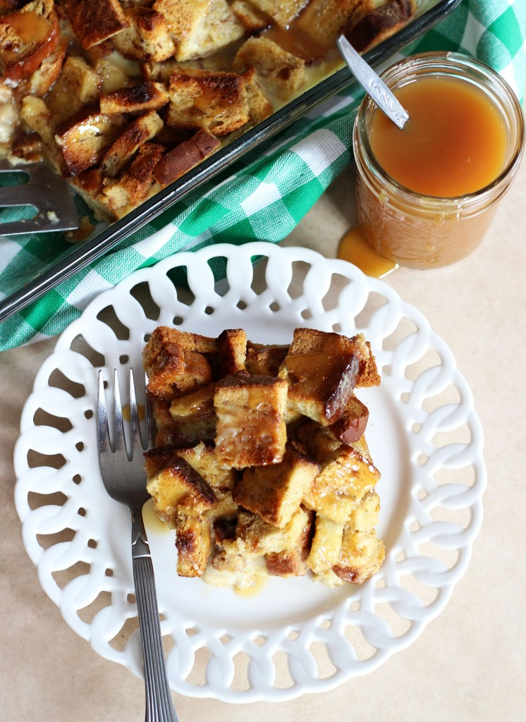 eggnog pumpkin spice bread pudding with butterscotch sauce 17