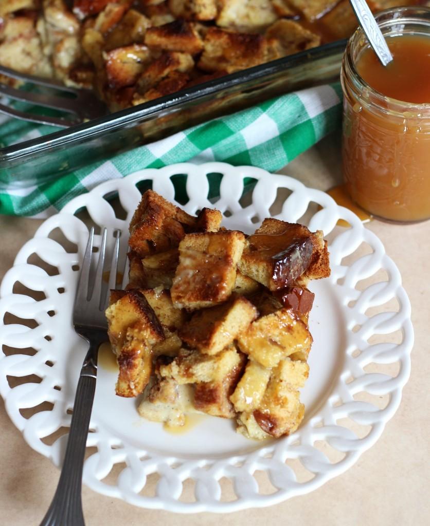 eggnog pumpkin spice bread pudding with butterscotch sauce 18