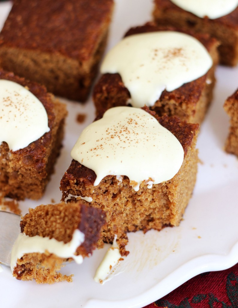 gingerbread snack cake with lemon cream cheese frosting 14