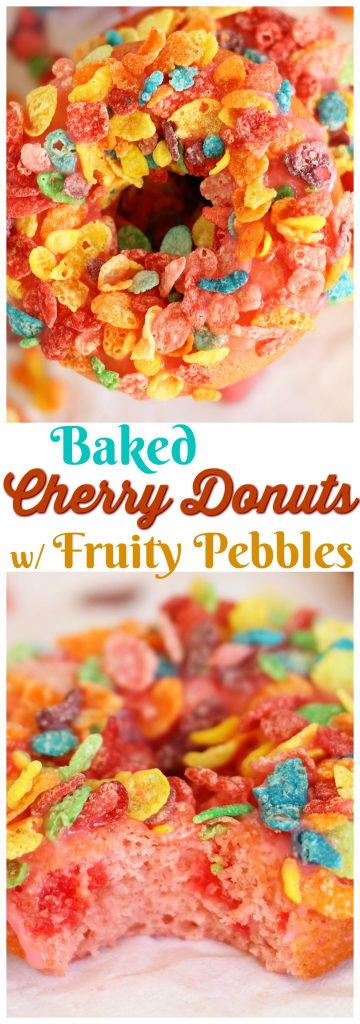 Baked Cherry Donuts with Cherry Glaze & Fruity Pebbles pin 2