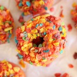 Baked Cherry Donuts with Cherry Glaze and Fruity Pebbles Topping