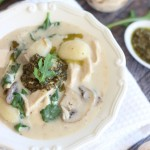 Chicken Mushroom Alfredo Soup w/ Gnocchi & Pesto (super quick and lightened-up)