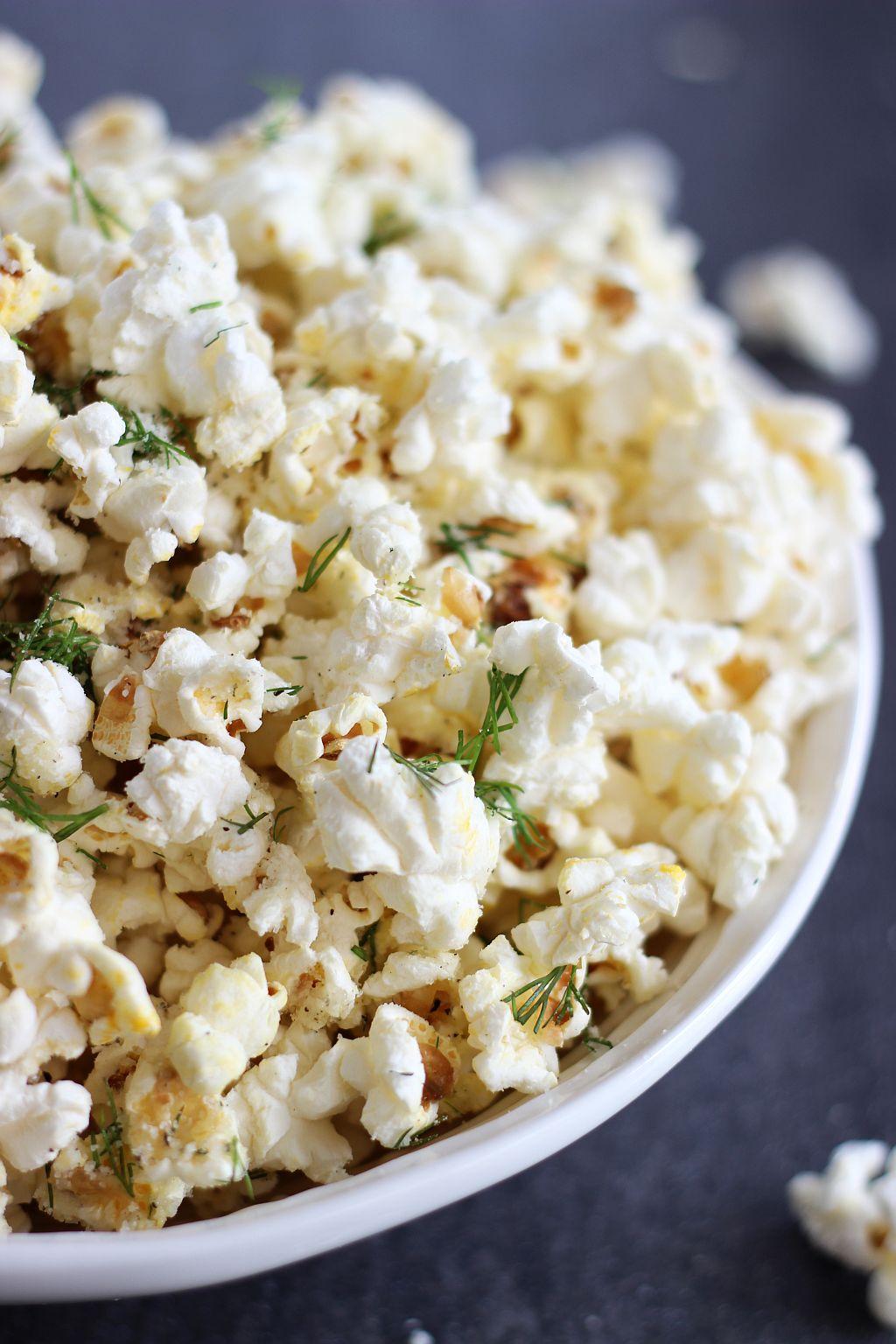Dill Parmesan Garlic Popcorn