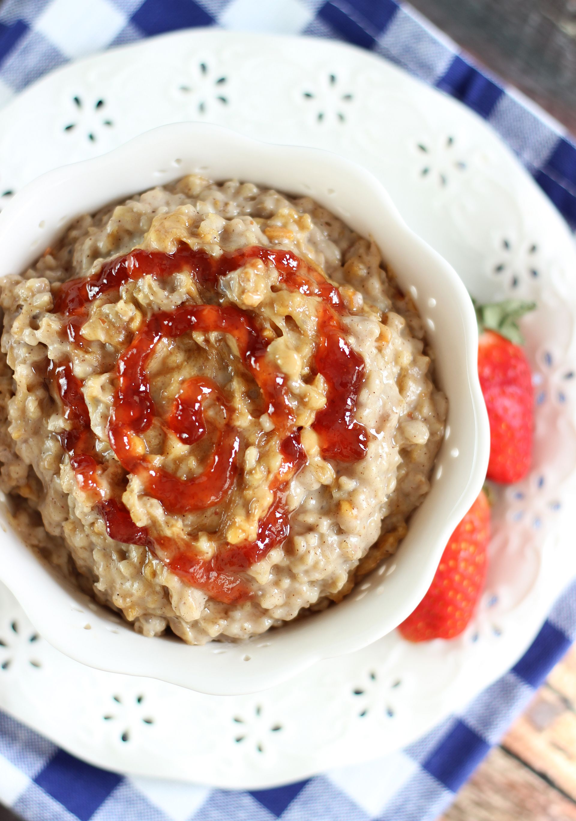 Peanut Butter and Jelly Slow Cooker Steel Cut Oats