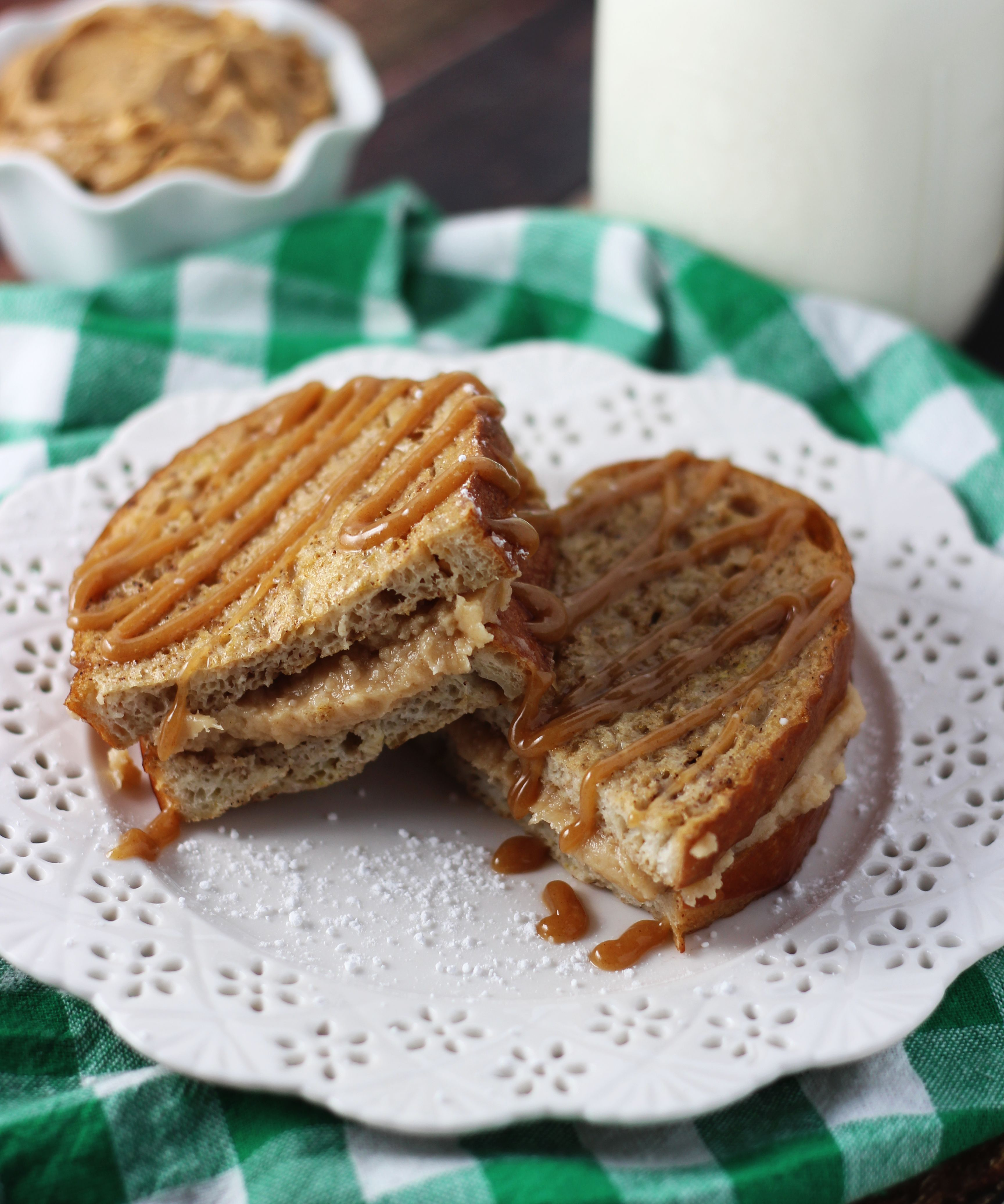 Peanut Butter Cheesecake Stuffed French Toast with Peanut Butter Maple Glaze