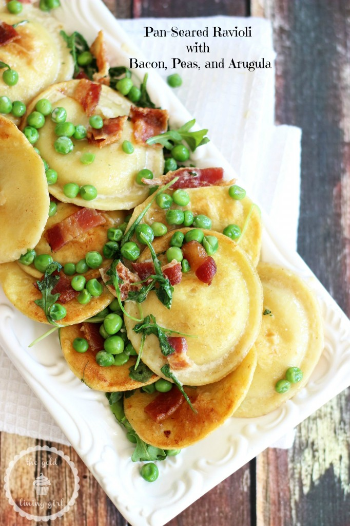 seared ravioli with bacon peas arugula and butter cream sauce 11 pin