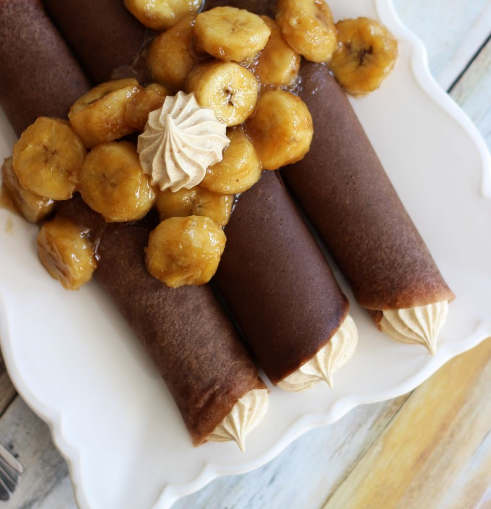 chocolate crepes with peanut butter marshmallow filling and caramelized bananas 8