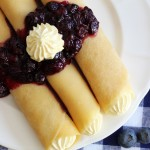 Crepes with Key Lime Custard and Blueberry Sauce